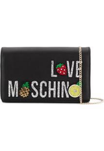 Love Moschino Clutch Com Aplicação - Preto