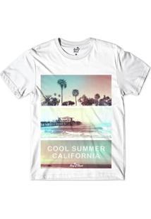 Camiseta Long Beach Verão Californiano Sublimada Masculina - Masculino-Branco
