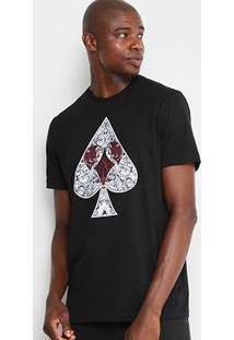 Camiseta Mcd Naipes Masculina - Masculino-Preto