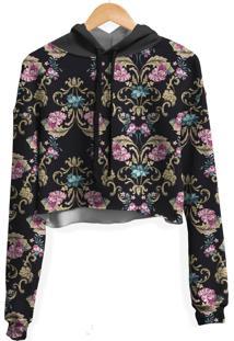 Blusa Cropped Moletom Feminina Over Fame Floral Barroco Md01