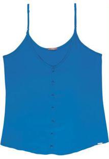 Blusa Com Alças E Botões Azul