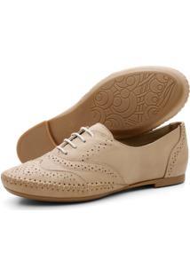 Sapato Oxford Casual Em Couro Yes Basic 15360 Areia