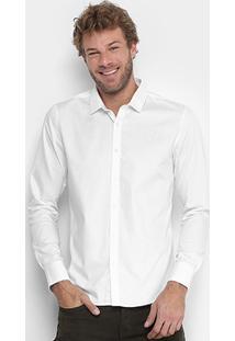 Camisa Calvin Klein Slim Fit Masculina - Masculino-Branco