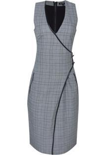 Vestido Midi Xadrez Vivo (Cinza Medio / Grey, 36)