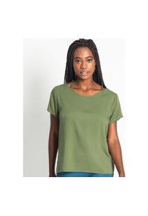 Blusa Feminina Com Gola Vazado Rovitex Verde