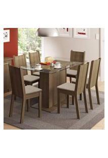 Conjunto Sala De Jantar Gales Madesa Mesa Com 6 Cadeiras Rustic/Pérola