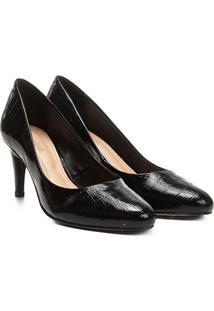 Scarpin Shoestock Salto Médio Croco - Feminino-Preto