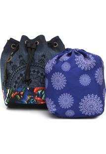 Bolsa Saco Desigual Com Necessaire Azul-Marinho