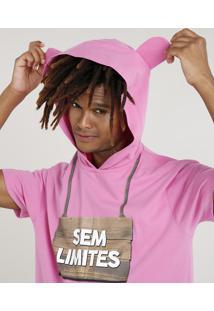 """Camiseta Masculina Carnaval Ursinho """"Sem Limites"""" Com Capuz De Orelhinhas Manga Curta Rosa"""