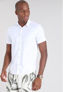 Camisa Masculina Relaxed Estampada Mini Print Manga Curta Branca