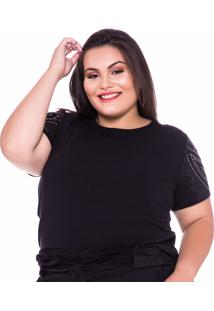T-Shirt Plus Size Costas E Mangas Com Brilho