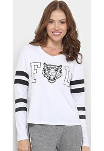 Blusa Fitwell Tigre Feminina - Feminino-Branco