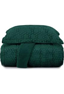 Jogo De Colcha King Blend Elegance Vogue Prisma - Verde Verde - Tricae
