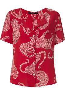 Eva Blusa De Seda Onças Estampada - Vermelho