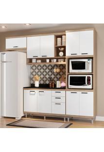 Cozinha Compacta Com Tampo 9 Portas 5829 Argila/Branco - Multimóveis