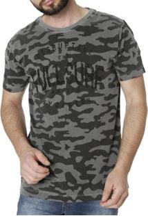 Camiseta Manga Curta Masculina Camuflada - Masculino-Cinza