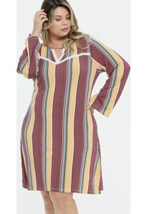 Vestido Feminino Estampa Listrada Manga Longa