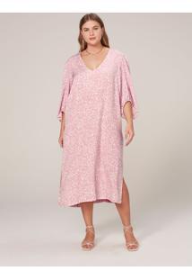 Vestido Midi Em Viscose Estampada - Rosa