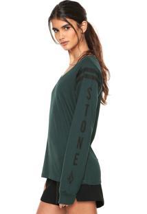 Camiseta Volcom Decote V Verde - Verde - Feminino - Dafiti