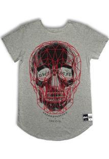 Camiseta Longline 3D Skull V2 - Masculino