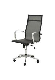 Cadeira Sevilha Eames Alta Cromada Tela Preta - 38054 Preto