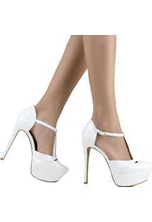 Sandália Zariff Shoes Meia Pata Verniz Branco