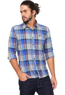 Camisa Ellus 2Nd Floor Reta Xadrez Cinza/Azul