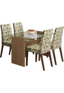 Conjunto De Mesa Com 4 Cadeiras Melrose Rustic E Floral Bege