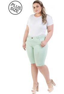 Bermuda Plus Size - Confidencial Extra Jeans Munich Com Elastano Verde