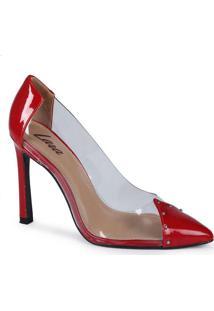 Sapato Scarpin Feminino Lara Vinil Vermelho