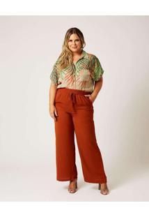 Calça Pantalona Almaria Plus Size Ela Linda Bolso