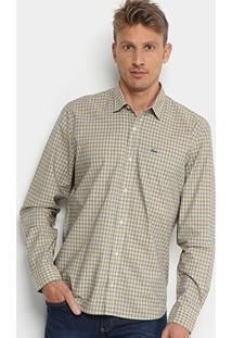 ... Camisa Xadrez Lacoste Manga Longa Masculina - Masculino-Amarelo+Branco c1f720897d