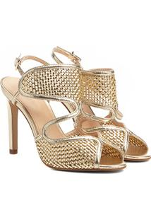 Sandália Shoestock Tressê Salto Fino Feminina - Feminino-Dourado