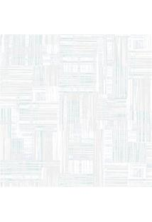 Papel De Parede Decor Moderno Texturizado Branco E Azul 0.53X10M