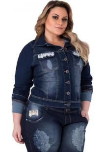 Jaqueta Jeans Confidencial Extra Aplique De Renda - Feminino-Azul