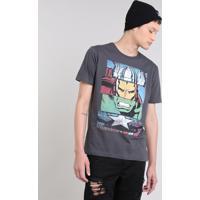 1c68ecefa0 Camiseta Masculina Os Vingadores Manga Curta Gola Careca Chumbo