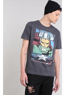 Camiseta Masculina Os Vingadores Manga Curta Gola Careca Chumbo