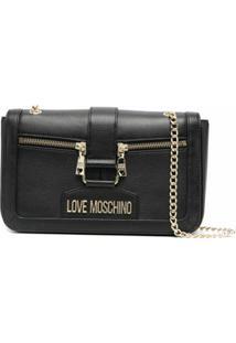Love Moschino Bolsa Transversal De Couro Com Placa De Logo - Preto