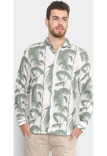 Camisa Manga Longa Foxton Parati Masculina - Masculino-Bege+Verde