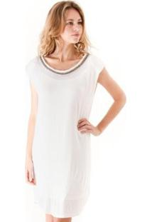 Vestido Manga Curta Liso Detalhe Decote Com Ombreira - Feminino-Off White