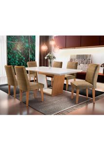 Conjunto De Mesa De Jantar Com 6 Cadeiras Estofadas Lunara Animalle Off White E Chocolate