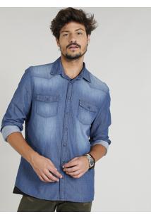 Camisa Jeans Masculina Com Recortes Manga Longa Gola Esporte Azul Médio