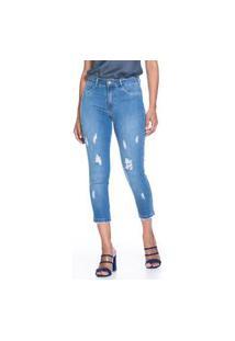 Calça Cropped Confort Jeans Lúcia Figueredo Com Puídos Azul
