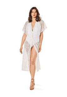 Vestido Midi Decote V Detalhe Paete Branco