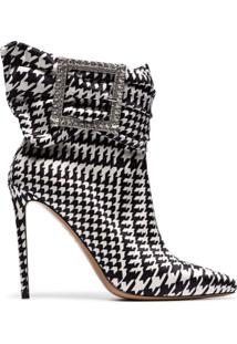 Alexandre Vauthier Black And White Yasmin 100 Houndstooth Print Buckle Embellished Ankle Boots - Branco