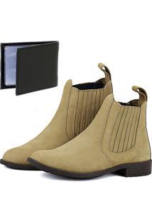 Bota Botina Chelsea Magi Shoes Moderna Brinde Areia