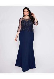 Vestido Almaria Plus Size Pianeta Longo Tule Azul