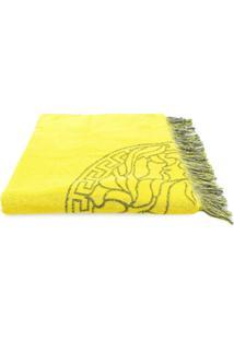 Versace Cobertor 'Medusa' Com Franjas - Amarelo