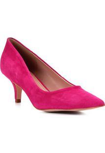 Scarpin Shoestock Salto Médio Classic Nobuck - Feminino-Rosa
