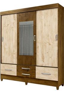 Guarda Roupa Casal Vegas 3 Portas De Correr E Espelho Castanho/Avel㣠Wood - Moval - Marrom - Dafiti